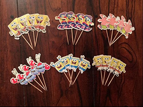 Spongebob Squarepants Cupcake Toppers Spongebob Party Supplies SET OF 24 -