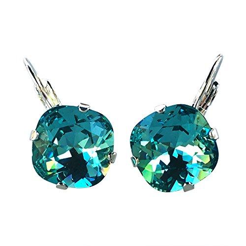 HisJewelsCreations Cushion Cut Large Square Stone Silvertone Earrings (Aqua (Aqua Blue Earrings)