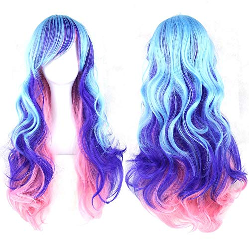 LACGO Curly Cosplay Long Costume Wavy Wig 32 80cm (Pink/Purple)