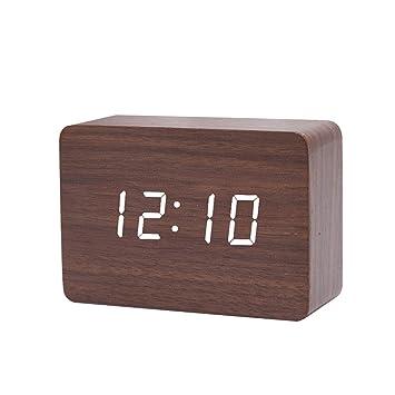 Queta Reloj Digital Despertador de Madera, Digital Alarma Despertador con Tiempo Fecha y Año,