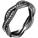 Twist Fate 2 Bands Eternity Promise Ring Love Wedding Jewelry Set in Black Gold and Cubic Zirconia CZ 10