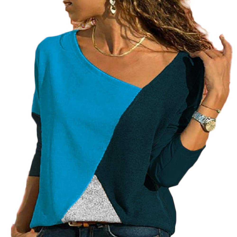 Escote de Pico Camiseta Casual Bloque de Color Blusa Superior Damas Manga Larga Asim/étrica Tallas Grandes Ropa de Mujer