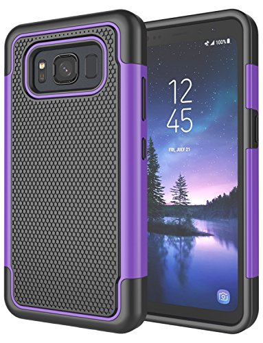 Galaxy S8 Active Case, S8 Active Cover, Jeylly [Shock Proof] Rubber Plastic Scratch Resistant Defender Bumper Rugged Hard Outer Cases Cover for AT&T Samsung Galaxy S8 Active - Purple