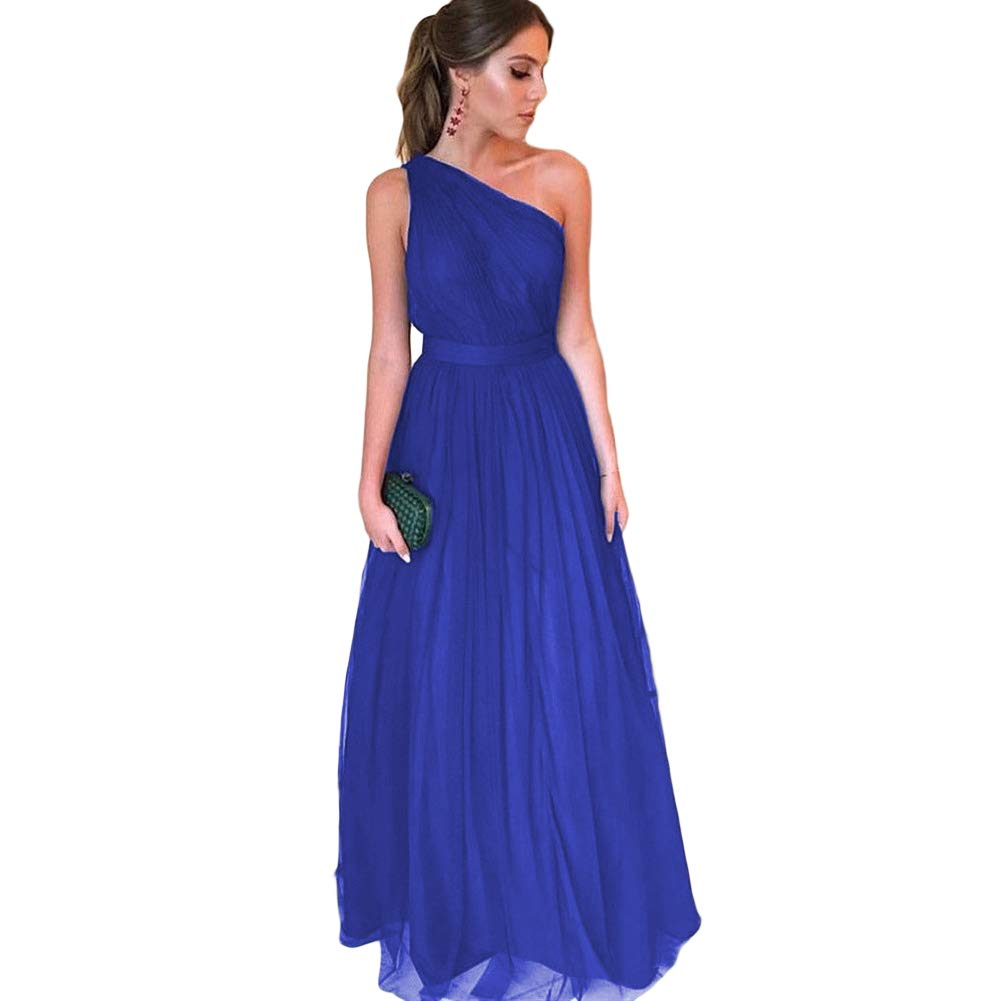 Royal bluee LiBridal Women's One Shoulder Sleeveless Tulle Prom Dress ALine Long Casual Evening Dresses