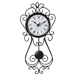 Chaney Instruments 75374 Wrought Iron Metal Pendulum Wall Clock, 16.5