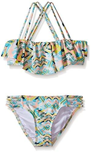 O'Neill Big Girls' Cabo Strappy Ruffle Bikini Top and Bottom, Sea Pea, 8