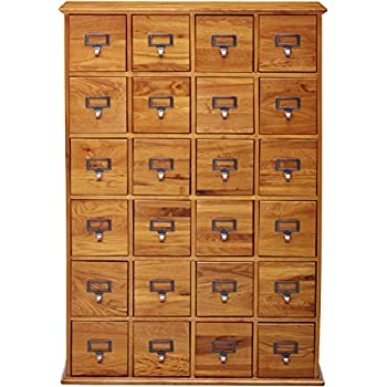 LDE LESLIE DAME Leslie Dame CD-456 Solid Oak Library Card File Media Cabinet, 24 Drawers, Oak