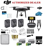 DJI Phantom 4 PRO Plus Obsidian Black Quadcopter Drone with 1-inch 20MP 4K Camera KIT, 3 Total Batteries, 2 64GB Micro SD Cards, Reader, Prop Guards, Range Extender, Charging Hub, Remote Harness, Case