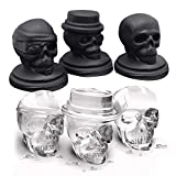 Skull Ice Tray, Skull Ice Molds, Ice Pop Molds, Whiskey Ice Ball Maker, Knowless 3D Flexible Silicone Ice Tray, Cooling for Red Wine, Vodka, liquor, whiskey,Soft drinks.