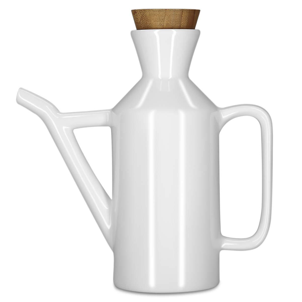 Vinkoe Kitchen Olive Oil Dispenser Bottle, Soy Sauce or Vinegar Cruet with Pourer, 15.2 OZ Modern White Ceramic Tabletop Liquid Condiment Dispenser by Vinkoe Kitchen (Image #1)