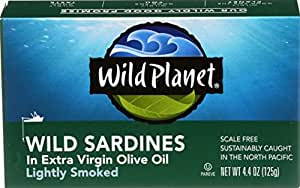 Wild Planet, Sardines in Extra Virgin Olive Oil, Lightly Smoked, 4.4 Ounce Tin (Pack of 12)