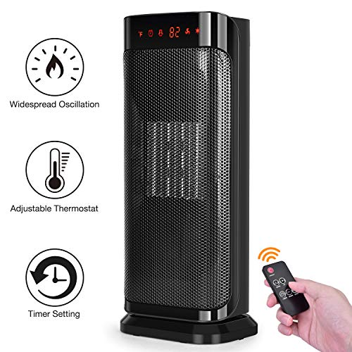 Electric Space Heater, 750W 1500W Fast Heating Oscillating Heater w/Remote Control, Temperature Control, Auto Shut Off Protection, Energy Efficient, Portable Indoor Ceramic Heater for Family Personal