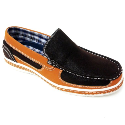 Vikings Mens Casual Slip on Loafers Leather Driving Moccasins Moc Toe Shoes Brown/Rust MEkAzu