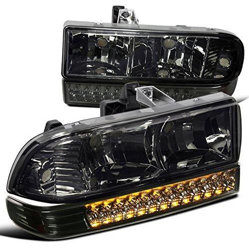 Chevy S10 Blazer Smoke Lens Headlights+LED Bumper Signal Lights Pair