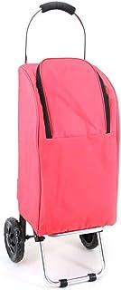 HBWJSH Tige pliante portative de ménage de tige de pliage en aluminium de chariot à provisions 25 kilogrammes de charge 33 * 29 * 88cm rose (Couleur : Pink)
