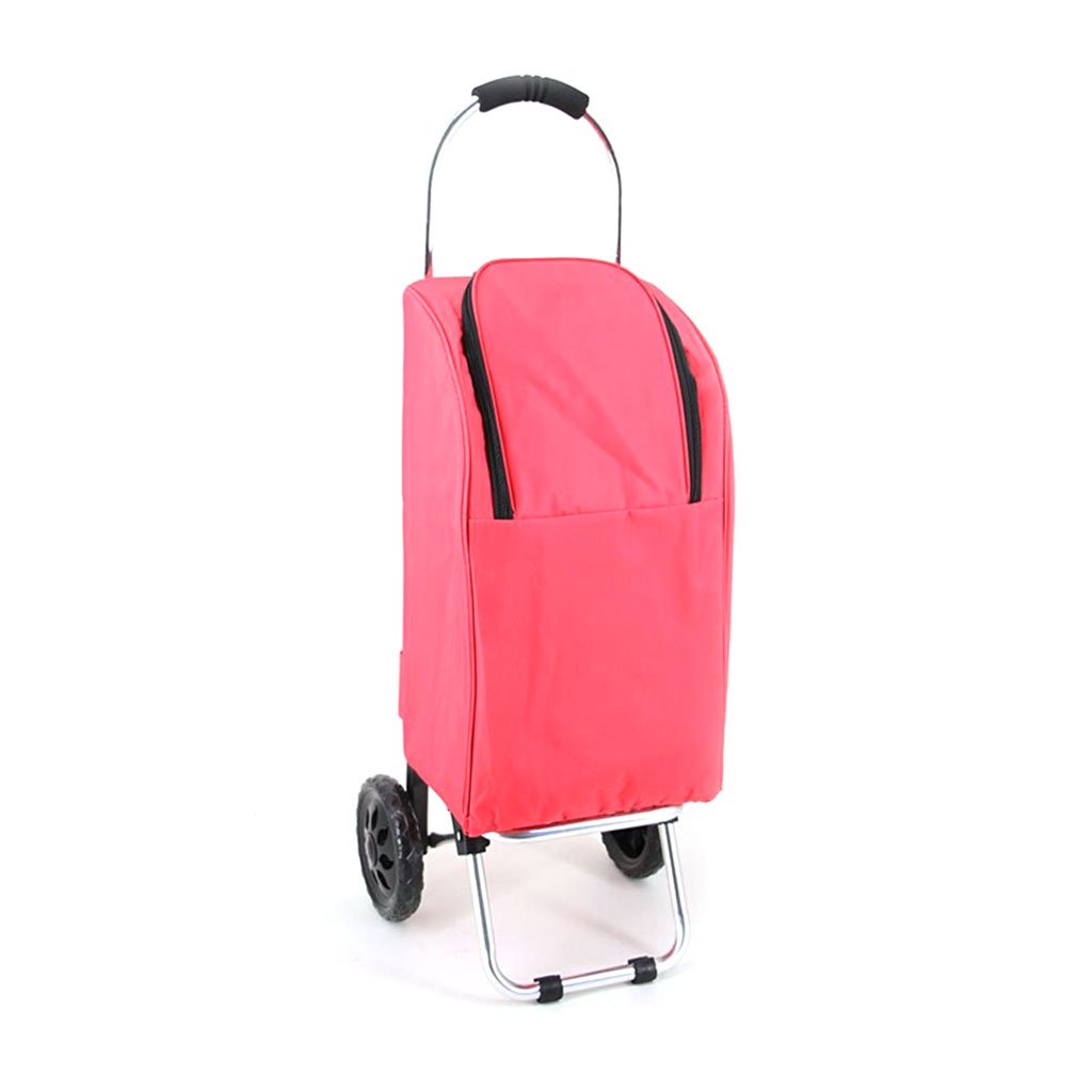 Handcart Hand Truck Insulation Space Aluminum Tube Trolley Folding Pull Rod Luggage Cart Portable Home Waterproof Shopping Cart 25 Kg Load (Color : Pink)