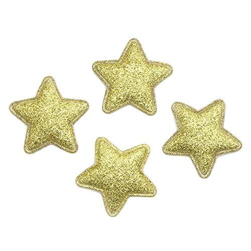 5pcs 34mm Star-Shaped Glitter Felt Cloth Non-Woven Fabric Scrapbooking Materials (Yellow)
