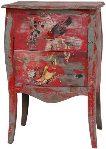 ORIENTAL Furniture Distressed Red 2-Drawer End Table