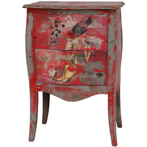 Distressed Red Two Drawer End Table
