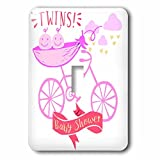 3dRose RinaPiro - Kids - Twins. Girls. Baby shower. Announcement. Cute picture. - Light Switch Covers - single toggle switch (lsp_261340_1)