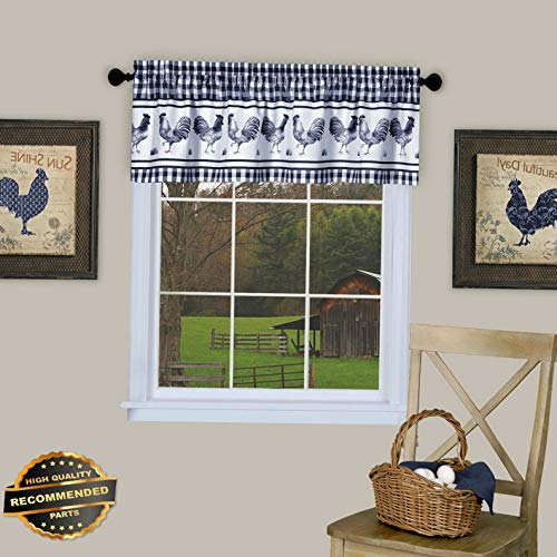 Gatton Plaid Rooster Window Curtain Valance - Assorted Colors | Style WNDWSCURT-01120191 | -