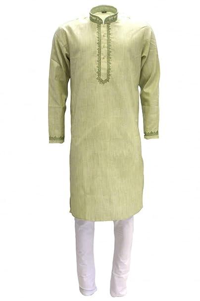MKP3254 Verde oliva y marfil hombres Kurta pijama Indian Bollywood Suit Sherwani