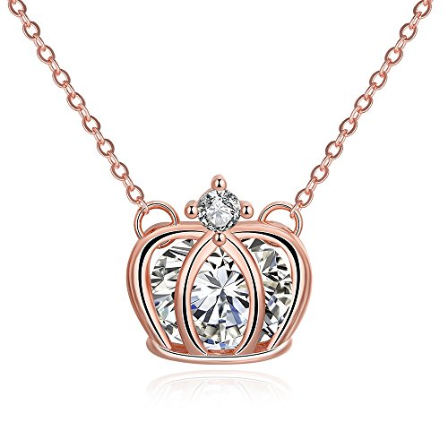 Custom Womens Designer Disney Costumes (SDLM Rose Gold Plated Shining Austrian Crystal Imperial Crown Pendant Chain Necklace)