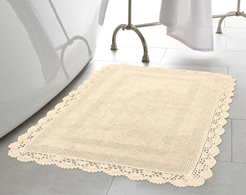 Laura Ashley Crochet Cotton 17x24/21x34 in. 2-Piece Bath Rug Set, Linen