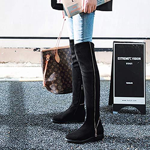 Arbeit Kampf Zipper Winter Hohe über Mode Das Knie Damen Elastischen Herbst Stiefel Martin Damen Wohnungen Lycra Für Stoff Lässige Für OHqXxnZFnw