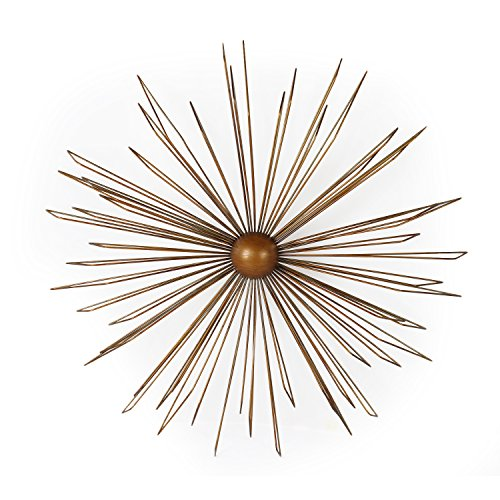 Adeco DN0012 Decorative Gold-Color Iron Wall Hanging Accents Decor Widget, Contemporary Modern Starburst Design, (Gold Starburst)