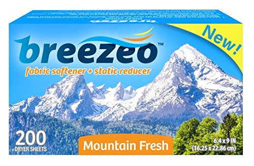 Breezeo Fabric Softener Dryer Sheets, Mountain Fresh, 200 Count