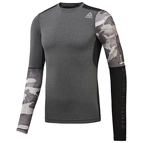 (Reebok ActiveChill Graphic Long Sleeve Compression Tee - SS18 - Small - Grey)