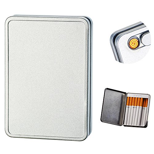 (USB Cigarette Lighter Case Cigarette Box Electronic Flameless Rechargeable Windproof Lighters Can Hold 16 Cigarette Smoke (Silver USB Lighter))
