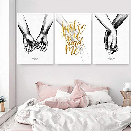 NOBRAND Cuadros Tomados de la Mano Amor Lienzo Pintura Minimalista Blanco Negro Carteles e Impresiones Cuadros Abstractos para Pareja Decoracion de dormitorio-40x50cmx3p Sin Marco