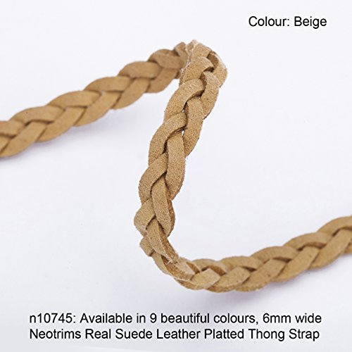 Neotrims 6mm REAL Leather Suede Platted Plaited Thong Trimming, Strong Strap. 9 Stunning Muted Colours, Multipurpose, Jewellery Cord, Belts and Thonging and Decorative Trim.