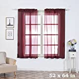64 panel curtain - BalsaCircle 52 x 64-Inch Burgundy Sheer Organza Backdrop Window Drapes Curtains 2 Panels - Home Party Wedding Ceremony Decorations