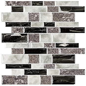 DK-RS234873C1 Lot of 11 Sheets HYH 8mm Thickness Electroplated Glass Stone Blend Mesh-mounted Mosaic Tile Sheet for Kitchen Backsplash Bathroom Wall and Swimming Pool 12 In X 12 In.