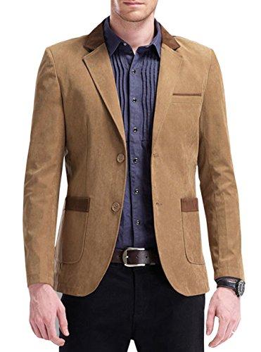 Mens Slim Fit Peaked Lapel Blazer Jacket Khaki US S/Label L 0055 ()