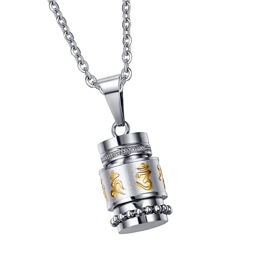MonkeyJack Stainless Steel Cremation Jewlery Drum Bottle with Gold Plating Om Mani Padme Hum Pendant Memorial Urn Chain Necklace