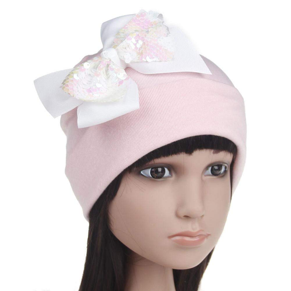 wintefei Toddler Girl Elastic Beanie Cap Baby Sweet Sequins Bowknot Knitted Cotton Hat
