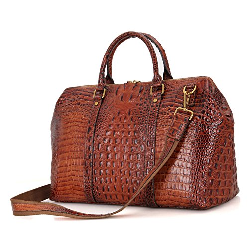Genda 2Archer Crocodile Embossed Leather Overnight Travel Duffle Weekend Bag Crocodile Travel Bag