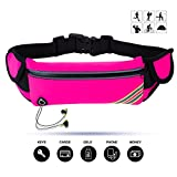 Cheap Running Belt, VERIYA Waterproof Fitness Belt Lightweight Waistpack Bumbag Fanny Pack with Headphone Hole,Soft Sweat-proof Fabric and Adjustable Elastic Strap,suit for 5.5″ smartphoe Money Coins (Pink)