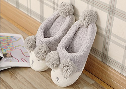 Vwu Mujeres Girls Sheep Warm Plush Soft Sole Interior De La Casa Fuzzy Lamb Slippers Gray