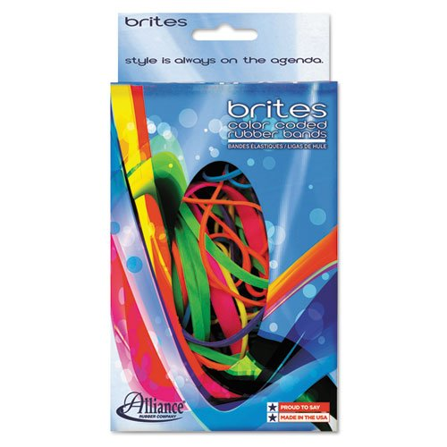 Alliance Rubber Products - Rubber Bands, 1-1/2 oz., BE/OE/YW/LE/PE/PK - Sold as 1 BX - Brites Hot-Color Rubber Bands are color-coded by size for quick, easy use. Feature #16 Blue, #18 Orange, #19 Yellow, #32 Lime, #33 Purple and #64 Pink. Rubber bands come in an easy-to-use dispenser box that fits in any desk drawer tray and helps prevent bands from getting tangled. Rubber bands are sustainable and biodegradable.