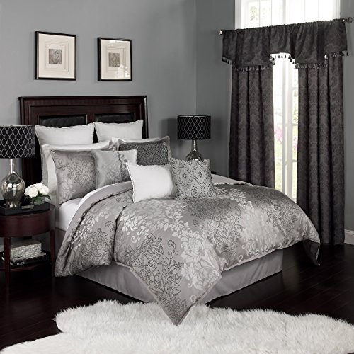 Beautyrest Chacenay Comforter Set, King, Pewter (Silver Bedding King)