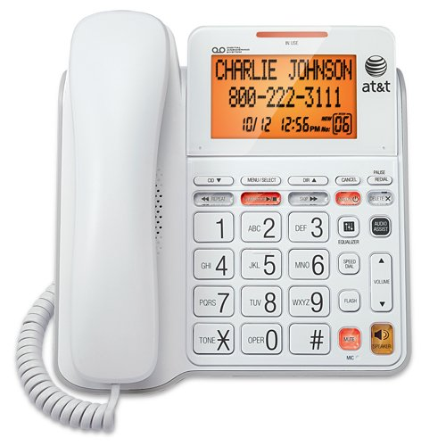 AT&T CL4940 Corded Standard Phone with Answering System and Backlit Display, White (Home Phones Cordless Big Numbers)