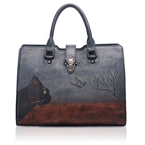 APHISON Designer Soft Leather Totes Handbags for Women, Ladies Satchels Shoulder Bags 8196 (GREY)