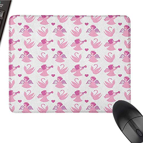(Cute Mouse pad Angel,Cute Angel Swans Love in The Air Theme Valentines Honeymoon Cupid Dreamlike, Fuchsia Baby Pink Mouse pad for Gaming 15.7 x23.6 INCH)