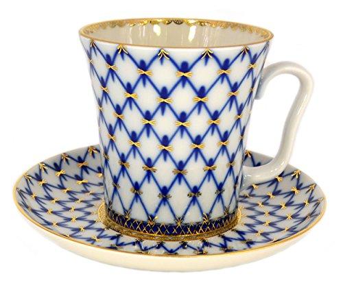 Lomonosov Porcelain Set 22 Karat Gold Cobalt Net Mug and Saucer 2pc