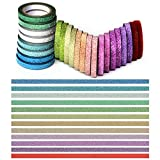 YUKUNTANG Skinny Glitter Paper Washi Tape Set 24 Rolls 12 Color Masking Tape for DIY Crafts Book Designs